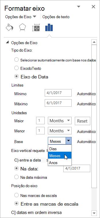 Painel Formatar eixo com eixo de data e unidades Base selecionadas
