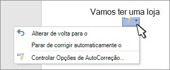 Botões opções de AutoCorreção e menu em um trabalho corrigido em um documento