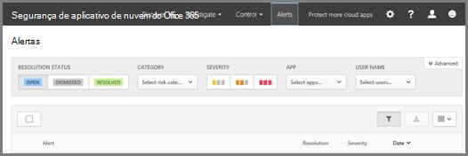 Na página alertas, você pode ver os alertas que foram disparados e quaisquer ações tomadas.