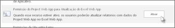 Permissão do Project Web App para atualização do Excel Web App