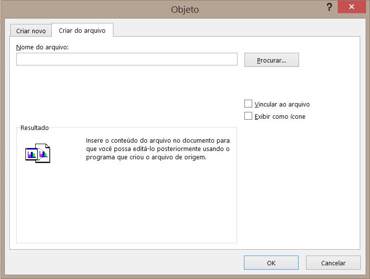 """A guia """"Criar do Arquivo"""" na caixa de diálogo Objeto."""