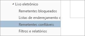 Uma captura de tela de Remetentes Confiáveis, no menu Opções