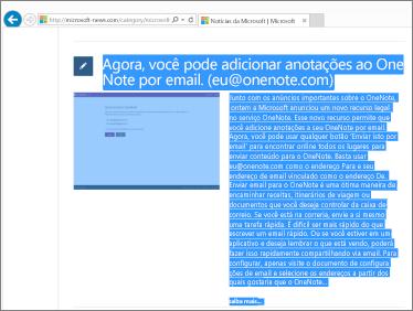 captura de tela mostrando a parte de uma página da web selecionada para ser copiada.