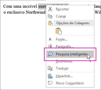 A Pesquisa Inteligente é realçada quando você clica com o botão direito do mouse em um texto ou uma imagem
