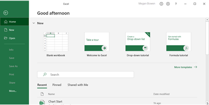 Tela de boas-vindas no menu Arquivo do Excel