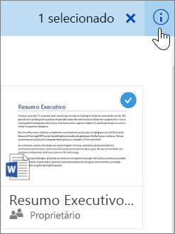Captura de tela da seleção de um item e do clique no ícone de informação