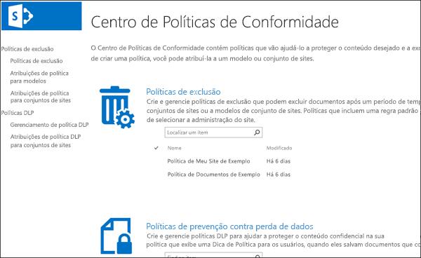 Centro de política de conformidade