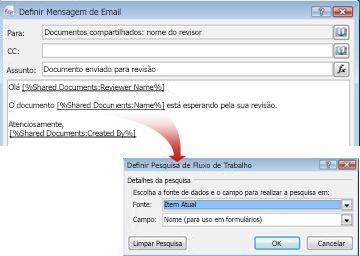 Mensagem de email com pesquisas