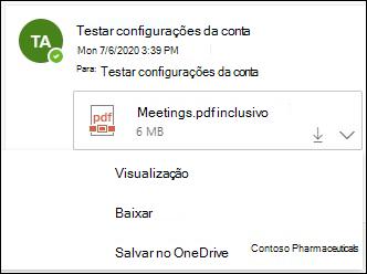 Menu suspenso para salvar um anexo no OneDrive.