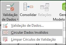 Circular dados inválidos na faixa de opções
