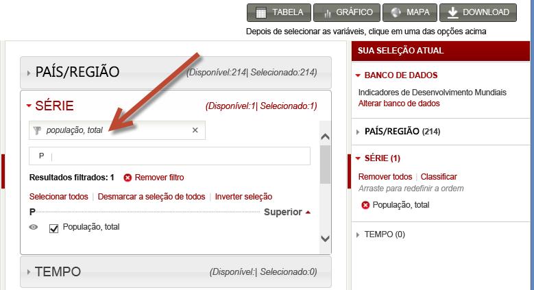 selecionando conjuntos de dados a partir do worldbank.org