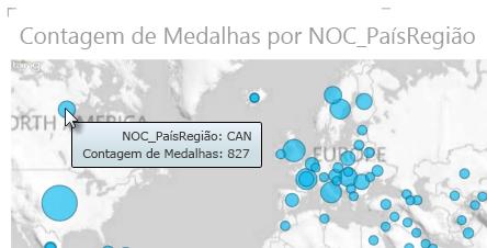 Passe o mouse sobre os dados nos mapas do Power View para obter mais informações