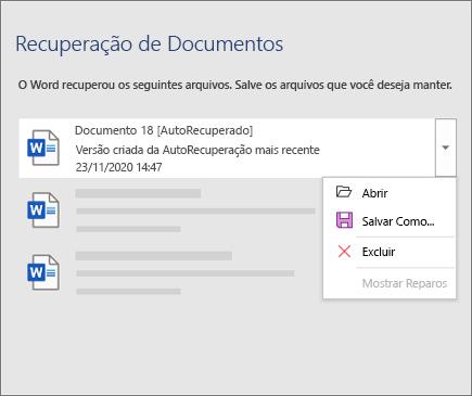 Arquivo de recuperação automática listado no painel 'Recuperação de documentos'