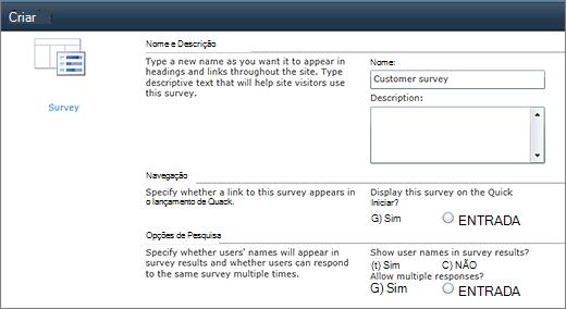 Página de opções de pesquisa do SharePoint 2010