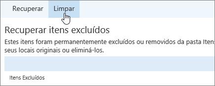 Uma captura de tela do botão Limpar.