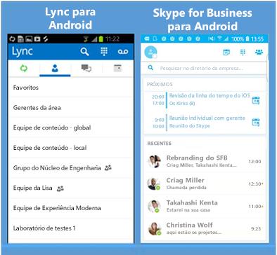 Capturas de tela lado a lado do Lync e do Skype for Business
