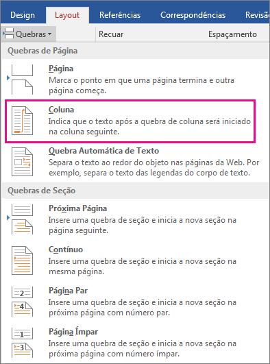 A opção Coluna é realçada no menu Quebras.