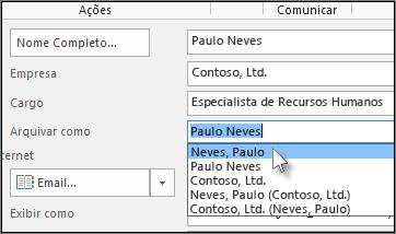 Clique na caixa à direita de Arquivar como e escolha o formato desejado.