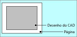 Desenho do AutoCAD dentro das bordas da página