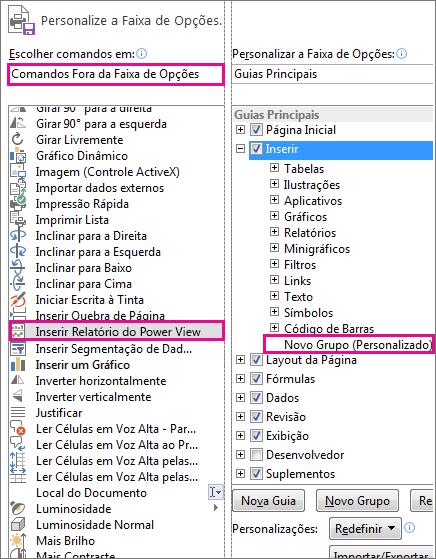 Personalizar a caixa de faixas de opções no Excel