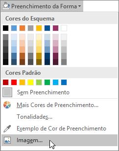 Captura de tela da opção Preenchimento de Imagem do Preenchimento de Forma na guia Formatar no Publisher.