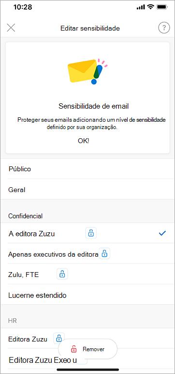 Captura de tela de rótulos de sensibilidade no Outlook para iOS