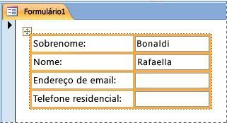 Campos contidos em um layout empilhado de um formulário