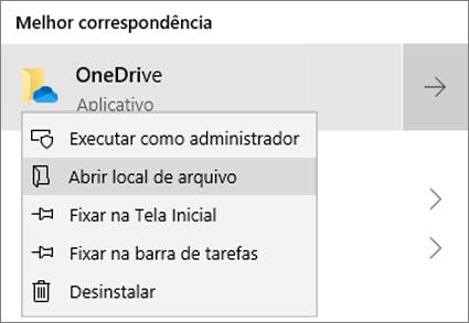 """Uma captura de tela mostrando o menu de clique com o botão direito do mouse no Menu Iniciar, com """"Abril local do arquivo"""" selecionado."""