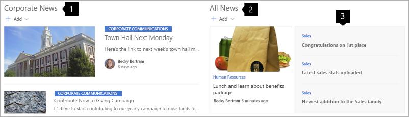 Exemplo de notícias em um site de Hub da intranet