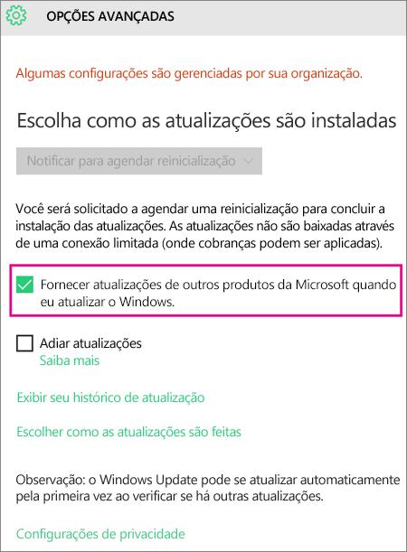 Opções Avançadas do Windows Update