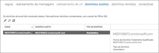 A captura de tela mostra a página Domínios Aceitos do Centro de administração do Exchange. São mostradas informações sobre o nome, o domínio aceito e o tipo de domínio.
