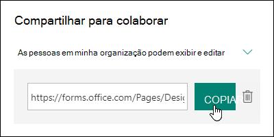 Um link de URL de colaboração de formulário ao lado dos botões Copiar e Excluir