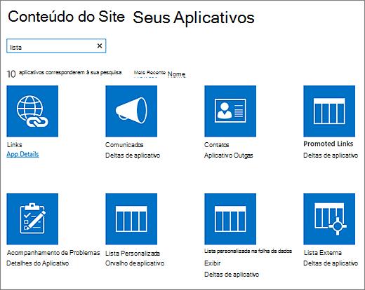 Listar aplicativos na página conteúdo do site