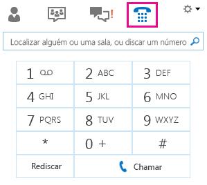 Captura de tela do teclado para telefonar para um contato