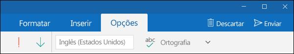 Guia Opções no aplicativo Email do Outlook