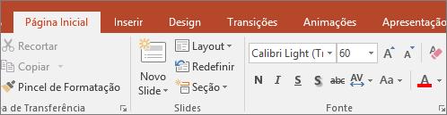 Mostra o marca-texto na Faixa de Opções do PowerPoint.