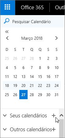 Uma captura de tela mostra as áreas Seus Calendários e Outros Calendários do painel de navegação do Calendário.