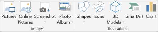 Inserir imagens ou ilustrações no PowerPoint.