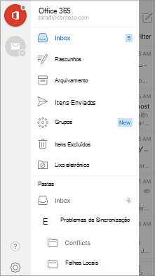 Barra de navegação do Outlook Mobile