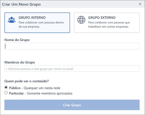 A caixa de diálogo Criar Grupo