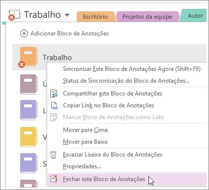 Captura de tela de como fechar um bloco de anotações no OneNote 2016.