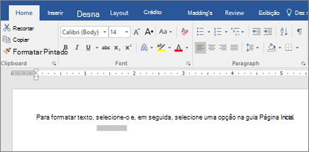 Opções de formatar texto da faixa de opções do Word