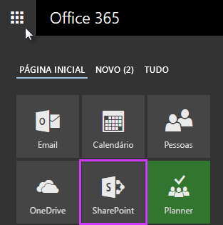 Captura de tela do inicializador de aplicativos no SharePoint Server 2016