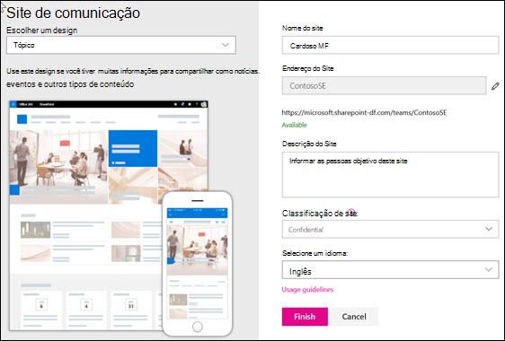 Criar um site de comunicação do SharePoint