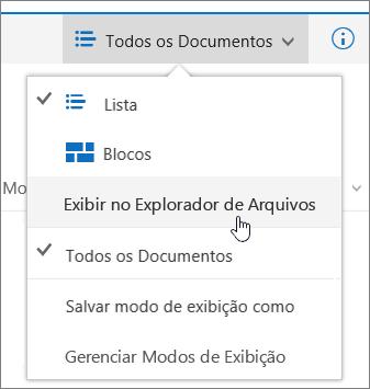Abrir com Explorer realçada no menu modos de exibição no SharePoint Online