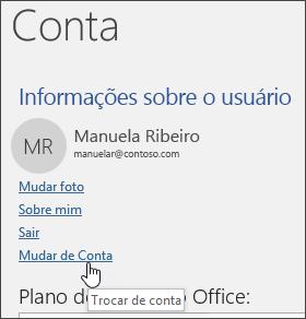Captura de tela mostrando como alternar entre contas nas Informações da conta
