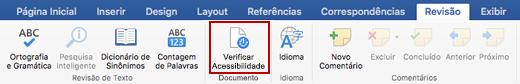 Captura de tela da faixa de opções Revisão com o ícone Verificar Acessibilidade
