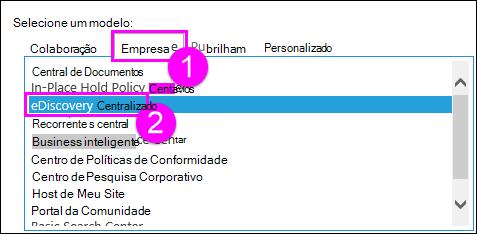 Modelos de conjunto de sites na guia empresa