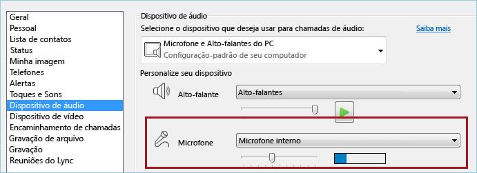 Captura de tela de verificação de áudio do microfone do Lync