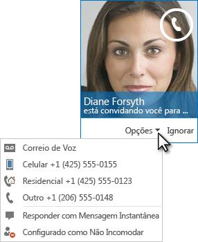 Captura de tela do alerta de chamada de vídeo com a imagem de contato no canto superior